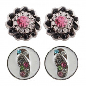 """Chunk Snap Charm Mini Petite Snaps 12mm (1/2"""" Diameter) Includes Two Pairs-Ideal for Mini Earrings …"""