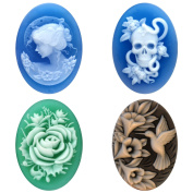 Cameo Craft Natural Agate Loose Oval Shape Jewellery Making Cabochon 25x18mm, 4 PC