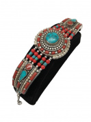 64 Grammes Vintage Nepalese Handmade Red Coral & Green turquoise Inlay Statement Bib Boho Bracelet, NPB02