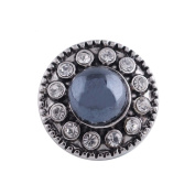 "Chunk Snap Charm Mini Petite 12mm Blue Pearl Crystal Border, 1/2"" Diameter"