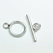 2PCs 925 sterling silver Jewellery finding Toggle Clasp, 13mm Circle