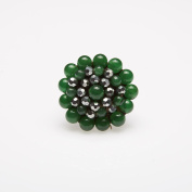 Green Round Stone Beads Ring with Stone Bead, Crystal Bead, Wax Cotton String Ring