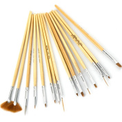 NEW 15pc Wood Handle Nail Art Dotting Brush Drawing Painting Nail Pen Set