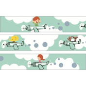 Green with aeroplane cloud Washi Masking Tape deco tape Shinzi Katoh Japan