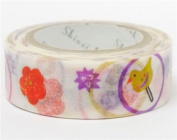 White with circle flower Washi Masking Tape deco tape Shinzi Katoh