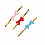 40 Pcs Cute Polka Dot Bowknot Gold Metallic Twist Wire Tie For Wedding Party Cello Candy Cake Cookie Bag