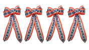 Set of 4 Black Duck Brand Stars and Stripes Patriotic Wired Ribbon Bows