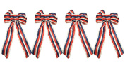 Set of 4 Black Duck Brand Stripes Patriotic Wired Ribbon Bows