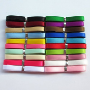 Chenkou Craft 20Yards 0.6cm Single Face Polyester Ribbon 20 Colours Assorted Bulk Lots Mix