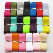 """Chenkou Craft Assorted Of 20 Yards Grosgrain Ribbon Total 20 Colours Mix Lots Bulk (1"""""""