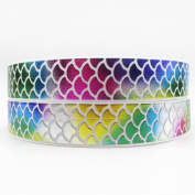 2.5cm Wide Rainbow Colour Sequins Fish Scales Grosgrain Ribbon For Decoration and DIY Handmande Accessories