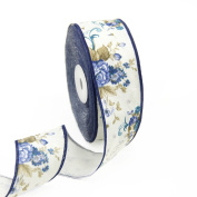 "25 Yards 1-1/2""(40mm) Wide DIY Fashion Flower Printed Linen Ribbon For Festival/Wedding/Party/Birthday/Bridal Shower Decoration and DIY Handmande Accessories"