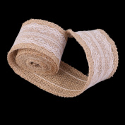 Dovewill Middle White Lace Charms Natural Burlap Ribbon Home Wedding Art Craft Wedding DIY Ribbon Roll