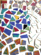 150 Assorted Colourful Mosaic Tiles, Broken China Mosaic Pieces, Ceramic Mosaic Tiles, Mosaic Art Supplies, Tile Mosaic Supply, Mosaic Craft Tiles, Broken Dish Pieces, Green and White Stripes