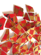 50 Red and Gold Chequered Mosaic Tiles, Broken China Mosaic Pieces, Ceramic Mosaic Tiles, Mosaic Art Supplies, Tile Mosaic Supply, Mosaic Craft Tiles, Broken Dish Pieces, Green and White Stripes