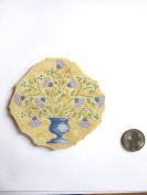 10cm Blue and Yellow Floral Mosaic Tile, Tile Mosaic Piece, Broken China Mosaic Tile, Porcelain Piece Round China Tile Mosaic Art Supply