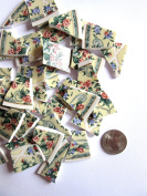 60 Floral Mosaic Tiles, Broken China Mosaic Pieces, Ceramic Mosaic Tiles, Mosaic Art Supplies, Tile Mosaic Supply, Mosaic Craft Tiles, Broken Dish Pieces, Green and White Stripes