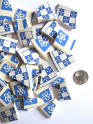 50 Blue and White Mosaic Tiles, Broken China Mosaic Pieces, Ceramic Mosaic Tiles, Mosaic Art Supplies, Tile Mosaic Supply, Mosaic Craft Tiles, Broken Dish Pieces, Green and White Stripes