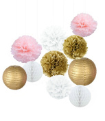 Kubert 20 Pcs Tissue Paper Pom Poms Flowers Paper Lanterns Gold Pink White Paper Crafts Tissue Paper Honeycomb Balls Lanterns Paper Pom Poms Birthday Wedding Party Decoration