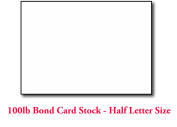 Extra Thick 45kg Bond Card Stock 14cm x 22cm Sheets (Half Letter Size) - 100 Sheets