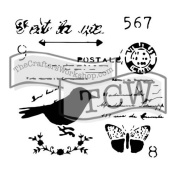 The Crafter's Workshop Set of 2 Stencils – Chickadee Post 12x 12 Large and 15cm x 15cm Mini - Includes 1 each TCW630 and TCW630s - Bundle 2 Items