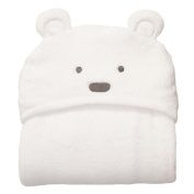 TorDen Cute Little Bear Coral Cashmere Baby Blanket, White