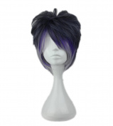 Kadiya Cosplay Wigs Dark Purple Silver Mixed Anime Party Costume Hair