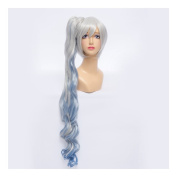 Kadiya Cosplay Wigs Long Wavy Blue Silver White Anime Costume Hair Clip On Pony