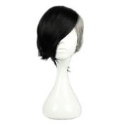Kadiya Cosplay Wigs Short Styled Black Grey Unisex Hair with Clip on Pony