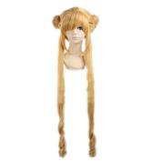 Kadiya Cosplay Wigs Long Styled Bun Yellow Halloween Christmas Party Hair