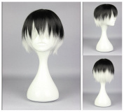 Kadiya Cosplay Wigs Short Black Silver White Mixed Boy Teens Anime Costume Wig