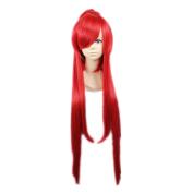 Kadiya Cosplay Wigs Long Scarlet Red Clip On Ponytail Fashion Girl Hair