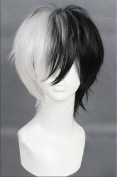 Kadiya Cosplay Wigs Short Black White Mixed Boy Girl Anime Expo Party Wig