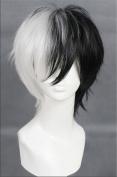 Kadiya Cosplay Wigs Short Black White Mixed Boy Girl Anime Expo Party Wig