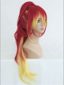 Kadiya Cosplay Wigs Long Yellow Mixed Anime Hair with Clip On Ponytail
