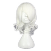 Kadiya Cosplay Wigs Short Wavy White Fashion Girl Anime Expo Halloween Party Hair