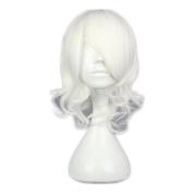 Kadiya Cosplay Wigs Short Wavy White Fashion Girl Anime Expo Halloween Party Hair