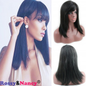 Rossy & Nancy 10A Brazilian Virgin Human Hair Mono Lace Wig Silk Straight Shoulder Lenth Glueless Lace Front Wig with Side Bangs 130% High Density for Women