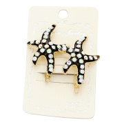 Rosemarie Collections Women's Set of 2 Fashionable Crystal Starfish Hair Clips