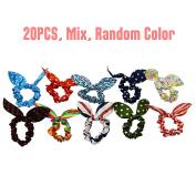 PREFER BEAUTY 20PCS Cute Girls Rabbit Ear Hair Tie Bands Ropes Ponytail Holder