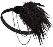 Aniwon Womens Headpiece Vintage Flapper Headpiece 1920s Headband with Side Chain