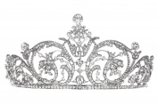 Grand Pageant Rhinestone Crystal Flower Ribbon Design Tiara Crown T967