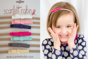 7 Mini Suede Bows on Nylon Headbands Multi-packs for Baby and Girls. {Scarlett Robin Brand}