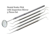 Dental Tarter Scraper and Remover Set Stainless Steel With Free Protective packing Plackers Dental Tools with Pick, Mirror and Scalar Dental Scaler Pick Carbon Steel Tools with Inspection Mirror Set 5 Pieces
