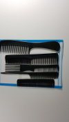 5 piece Hair Styling Comb Set Professional Black Hairdressing Brush Barbers