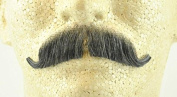 Basic European Moustache DARK GREY - 100% Human Hair - no. 2012 - REALISTIC!