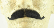 European Moustache BLACK - 100% Human Hair - no. 2012 - REALISTIC! Perfect for Theatre - Reusable!