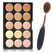 Leegoal(TM) 15 Colours Concealer Eye Shadow Palette Kit with Makeup Toothbrush Oval Curve Brush