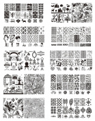 Wonderpark - OM-B B Nail Art Stamping Image Plate Extra Large Full Nail Art Retangular Shape Stamping Plates