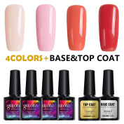 Modelones UV LED Soak Off Gel Nail Polish,4 Colours Gift Set with Clear Base Coat and Fast Drt Top Coat